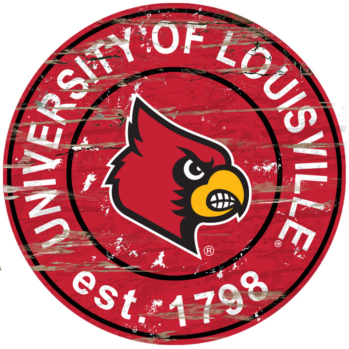 "Louisville Distressed 24"" Round Sign - Fan Cave Rugs"