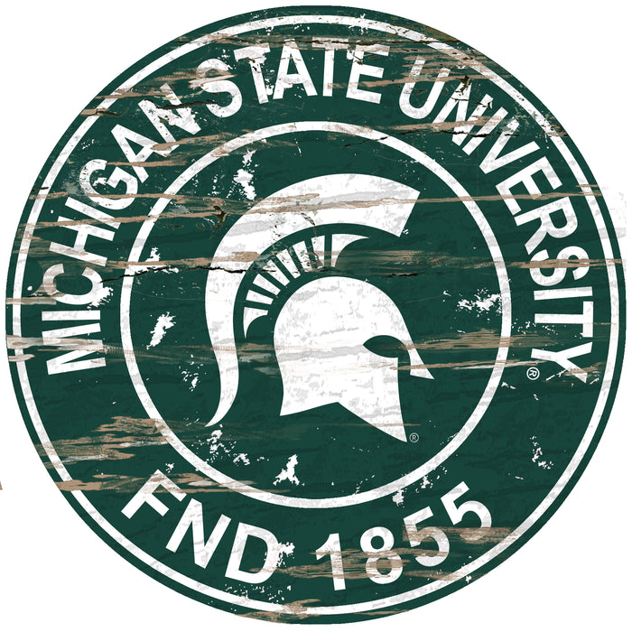 "Michigan State Distressed 24"" Round Sign - Fan Cave Rugs"