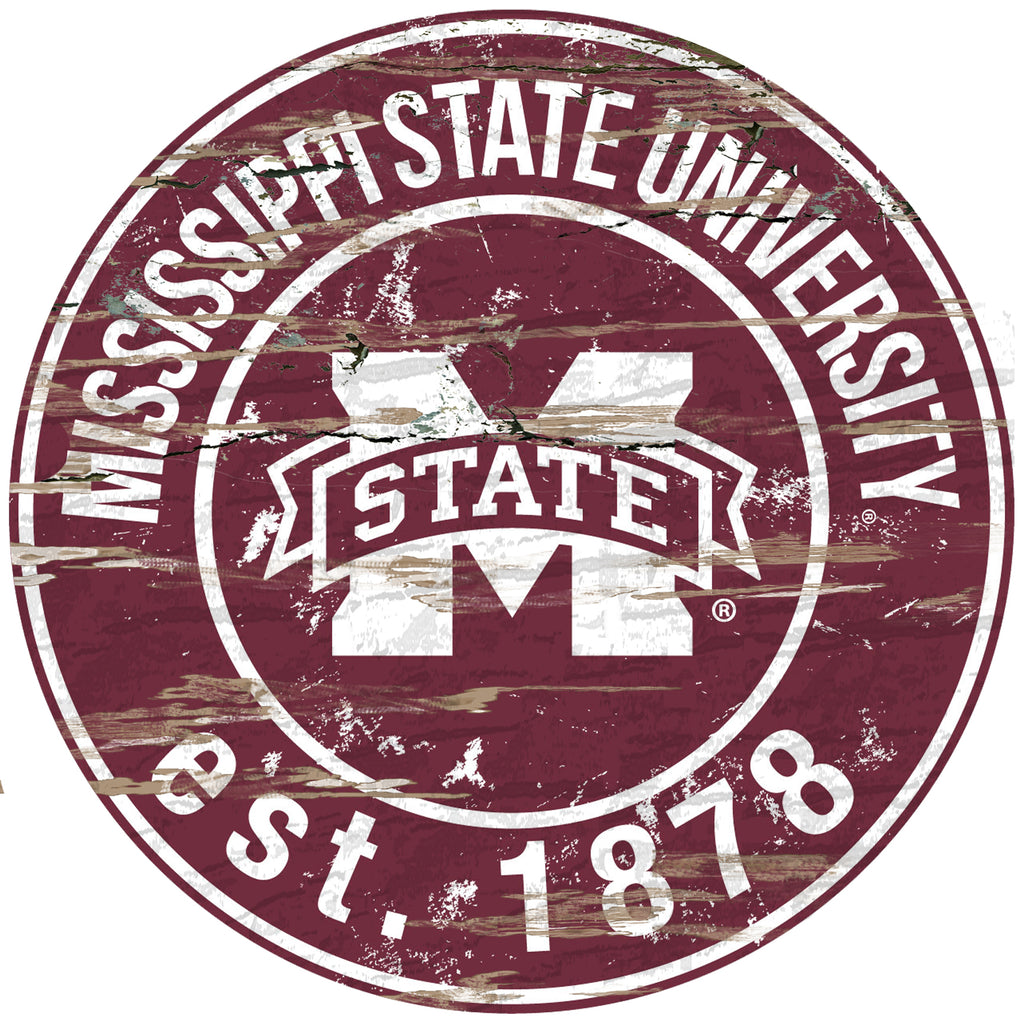 "Mississippi State Distressed 24"" Round Sign"