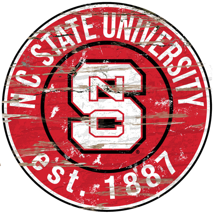 "NC State Distressed 24"" Round Sign"