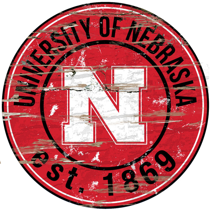 "Nebraska Distressed 24"" Round Sign"