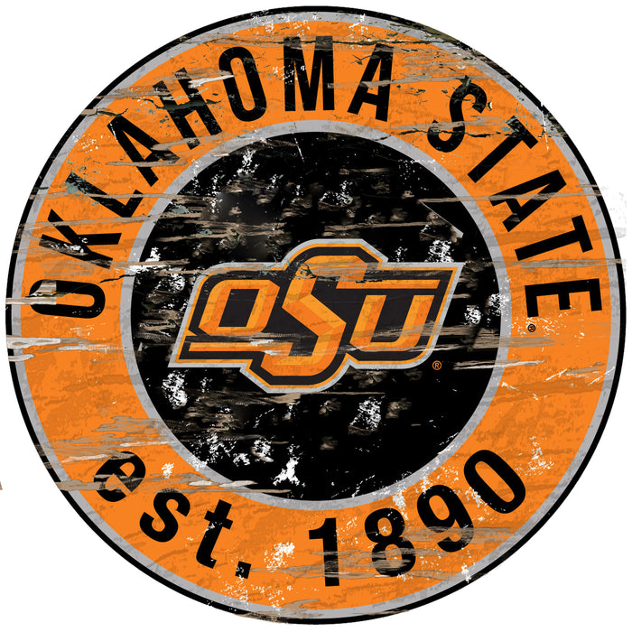"Oklahoma State Distressed 24"" Round Sign"