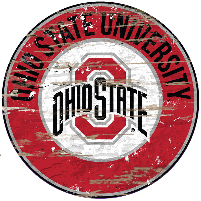 "Ohio State Distressed 24"" Round Sign"