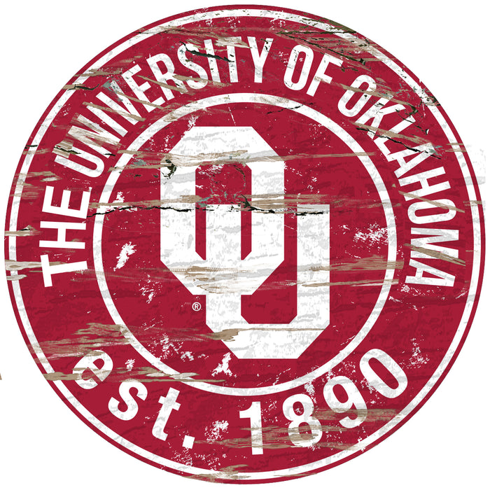 "Oklahoma Distressed 24"" Round Sign"