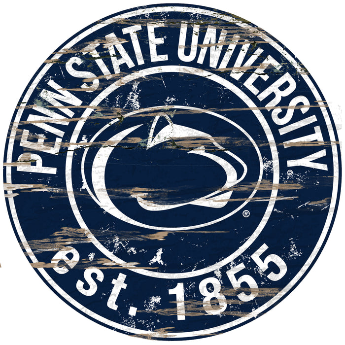 "Penn State Distressed 24"" Round Sign"