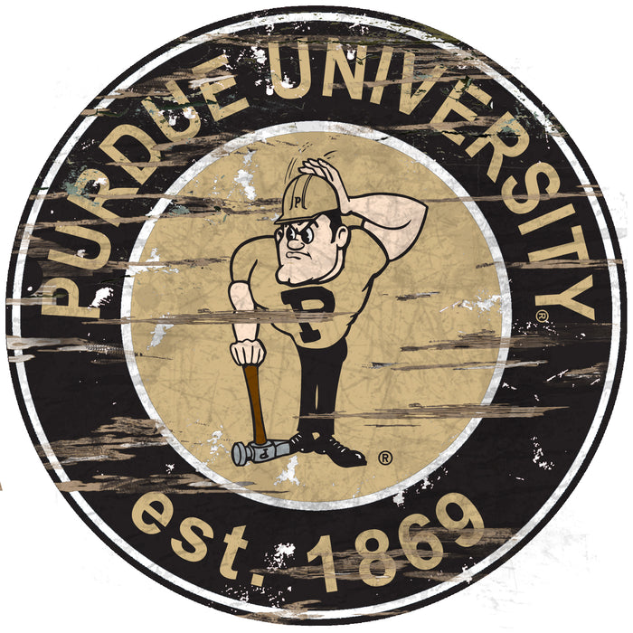 "Purdue Distressed 24"" Round Sign"