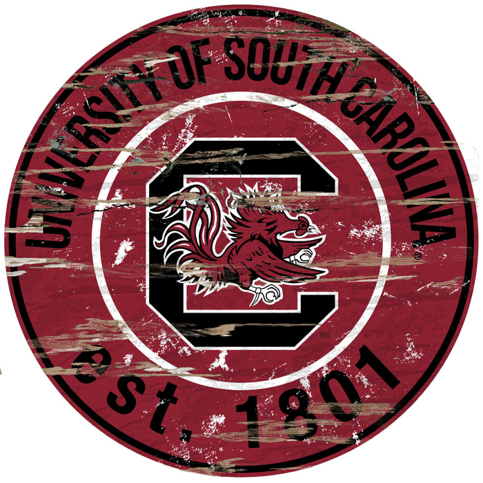 "South Carolina Distressed 24"" Round Sign"