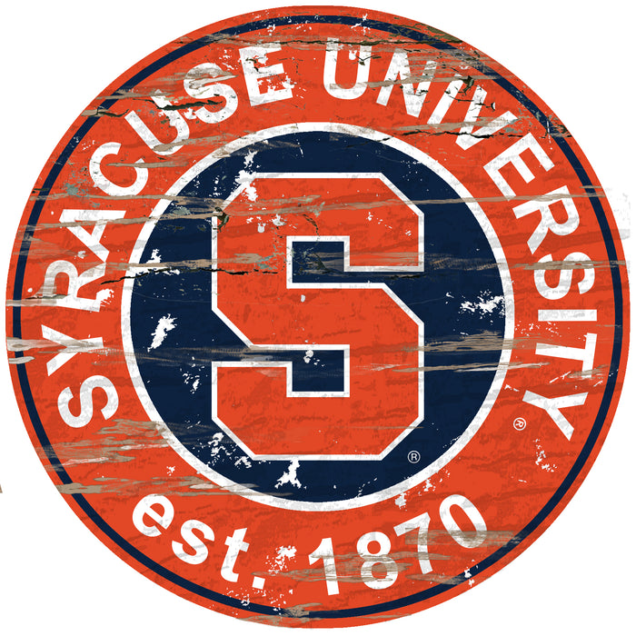 "Syracuse Distressed 24"" Round Sign"