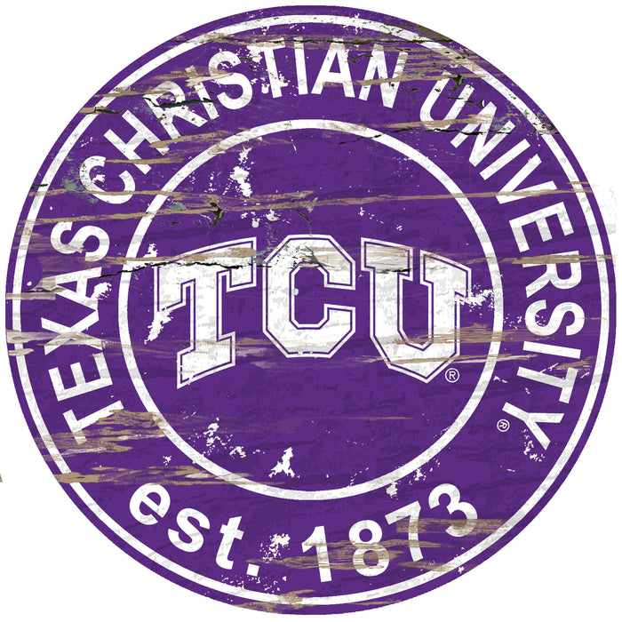 "TCU Distressed 24"" Round Sign - Fan Cave Rugs"