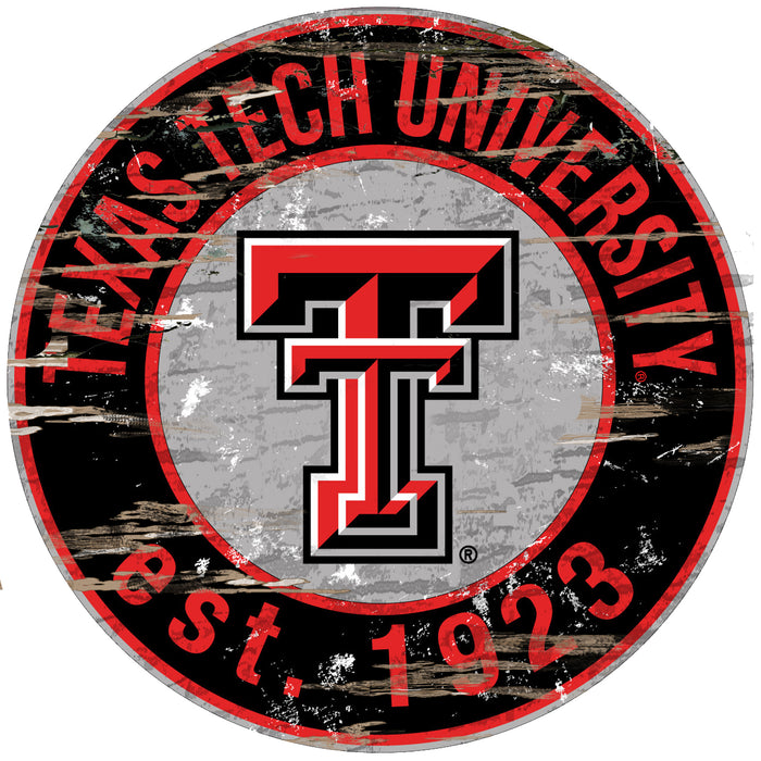 "Texas Tech Distressed 24"" Round Sign"