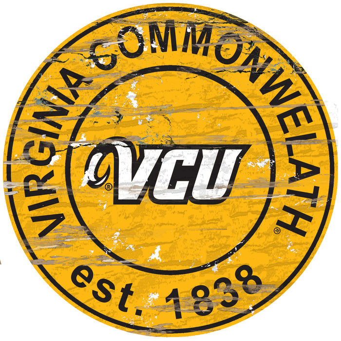 "VCU Distressed 24"" Round Sign - Fan Cave Rugs"