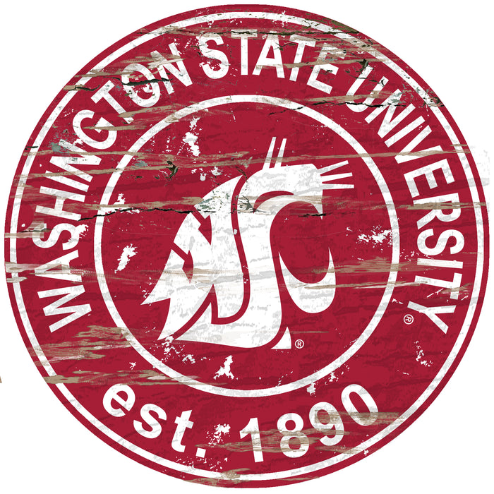 "Washington State Distressed 24"" Round Sign"