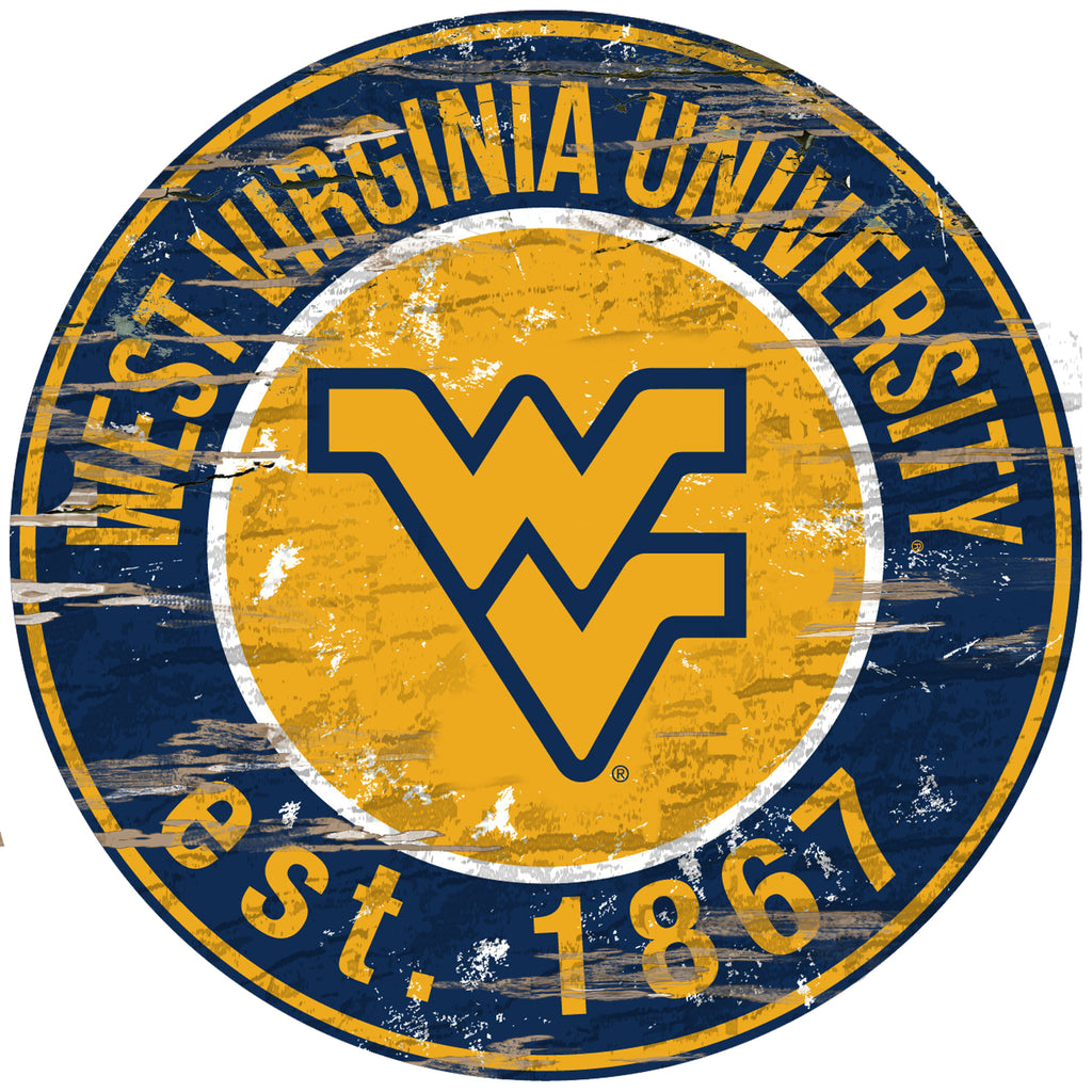 "West Virginia Distressed 24"" Round Sign"