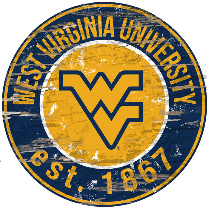 "West Virginia Distressed 24"" Round Sign - Fan Cave Rugs"