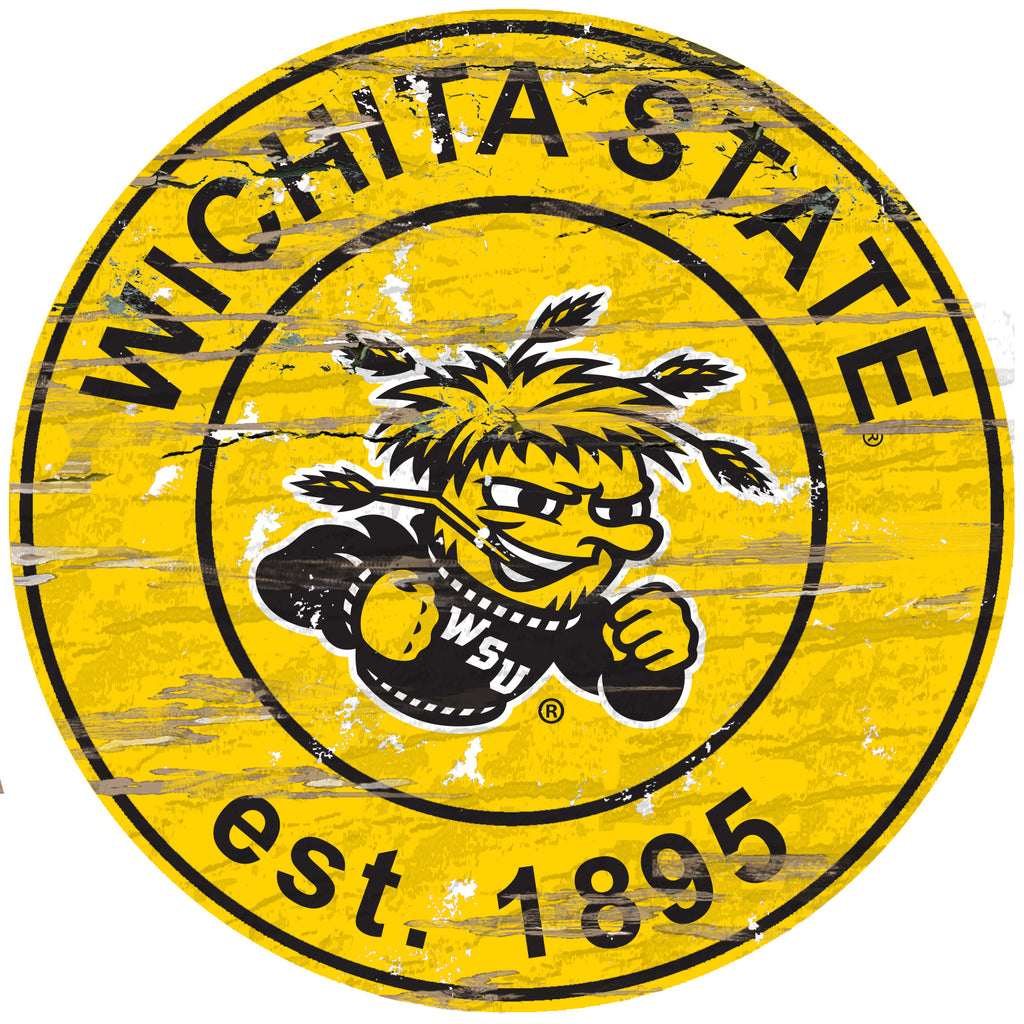 "Wichita State Distressed 24"" Round Sign"