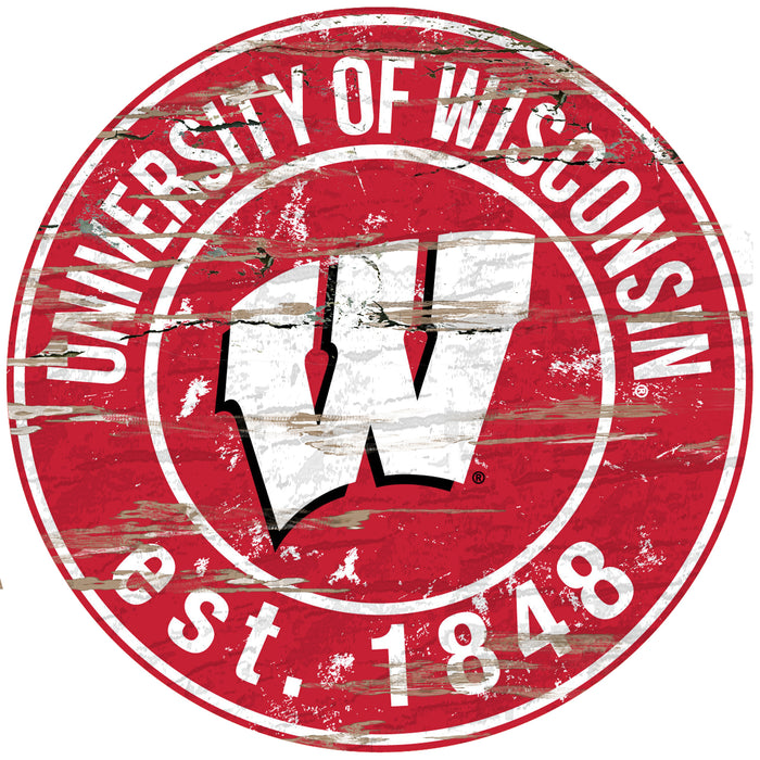 "Wisconsin Distressed 24"" Round Sign"