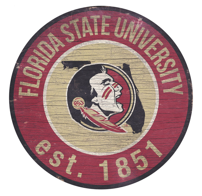 "Florida State with Logo 24"" Round Sign"