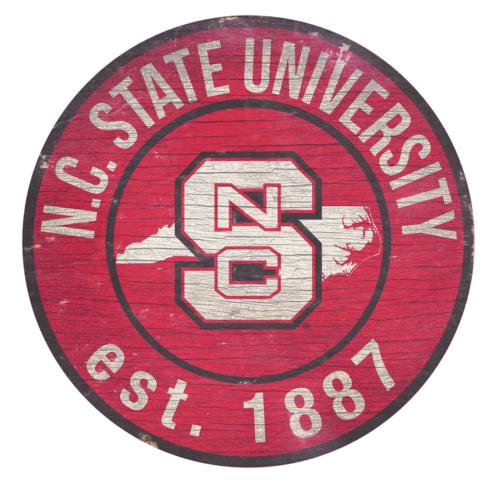 "NC State with Logo 24"" Round Sign"