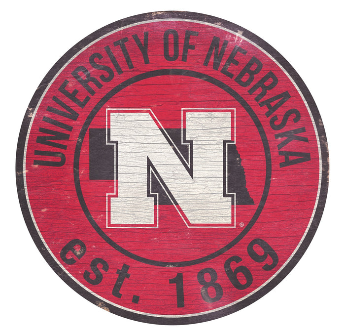 "Nebraska with Logo 24"" Round Sign"