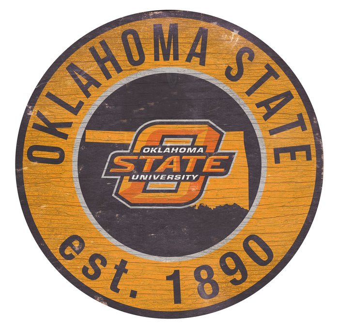 "Oklahoma State with Logo 24"" Round Sign"
