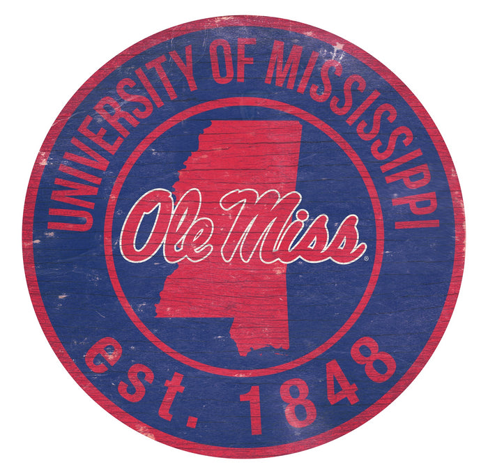 "Mississippi with Logo 24"" Round Sign"