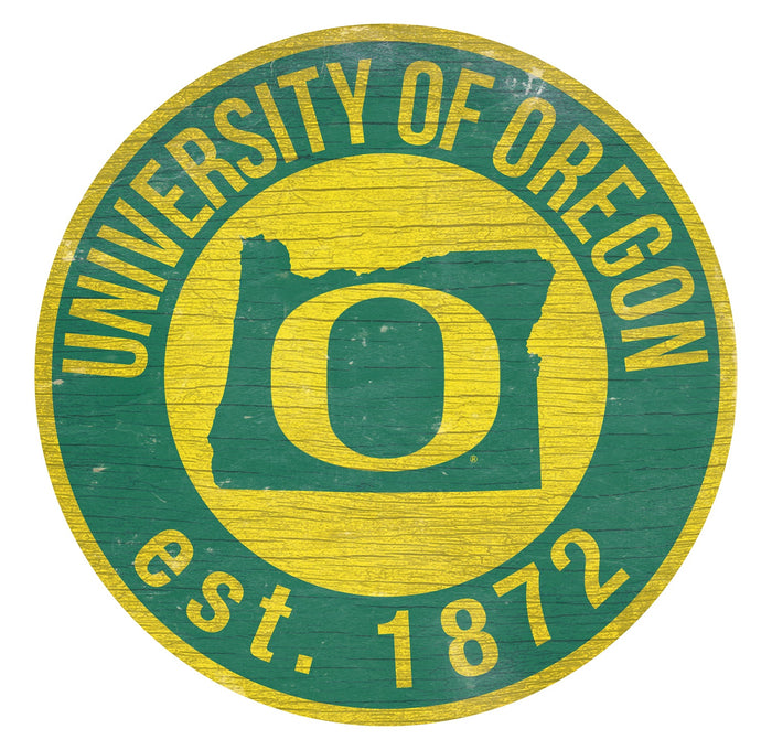 "Oregon with Logo 24"" Round Sign"