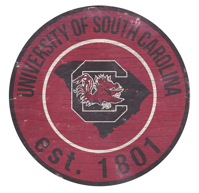 "South Carolina with Logo 24"" Round Sign"