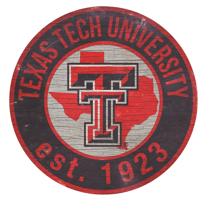 "Texas Tech with Logo 24"" Round Sign"