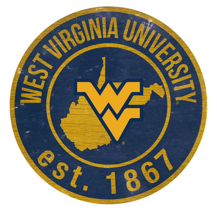"West Virginia with Logo 24"" Round Sign"