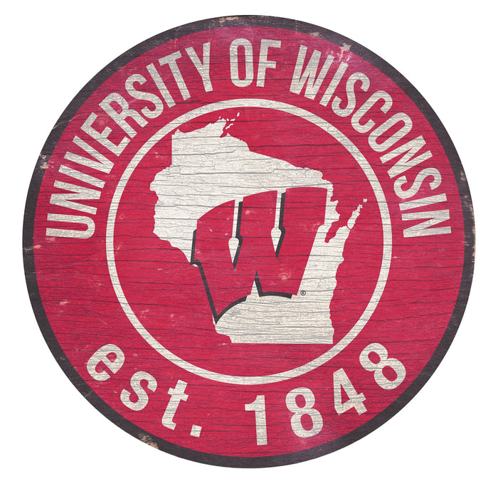 "Wisconsin with Logo 24"" Round Sign"