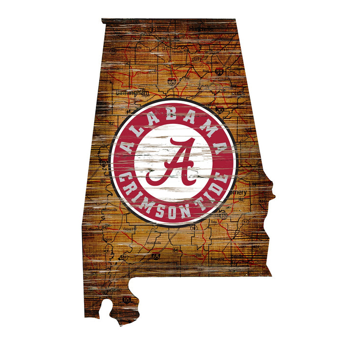 "Alabama Distressed State with Logo 24"" Wall Art - Fan Cave Rugs"