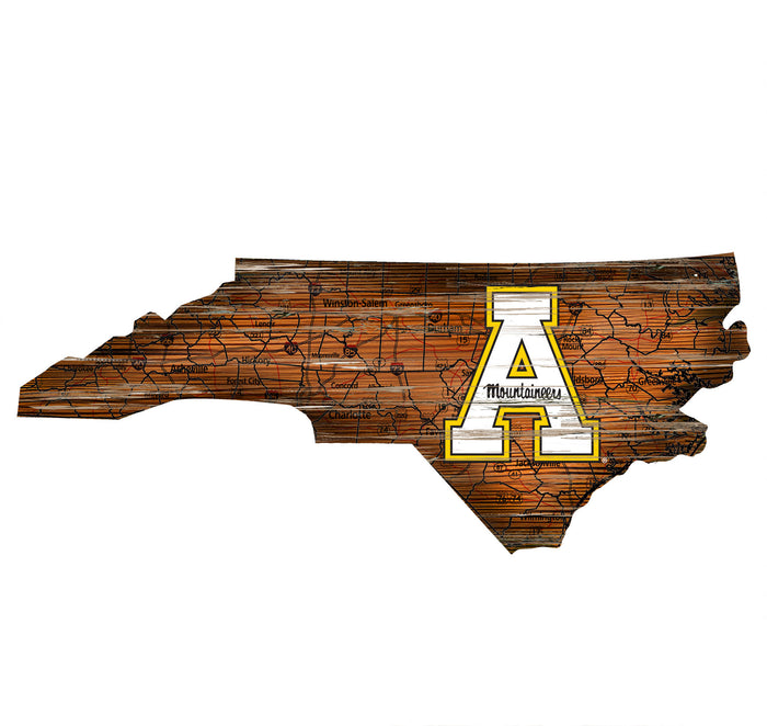 "Appalachian State Distressed State with Logo 24"" Wall Art - Fan Cave Rugs"