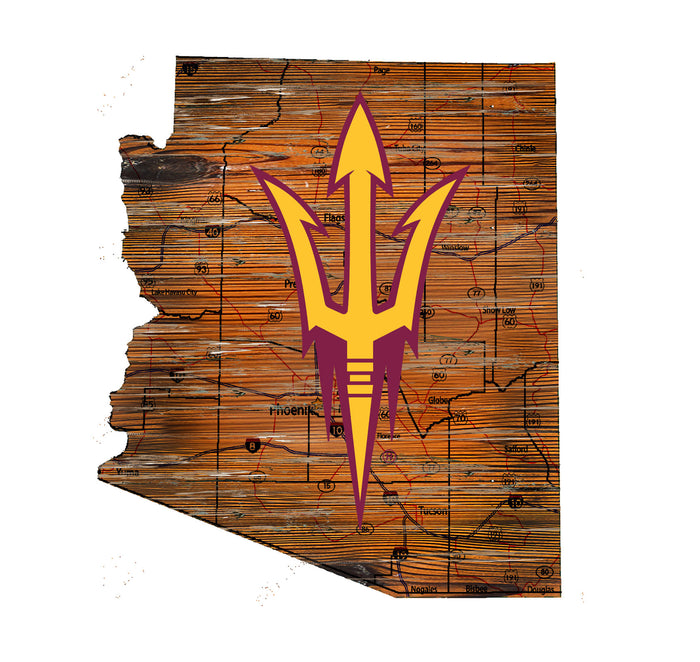 "Arizona State Distressed State with Logo 24"" Wall Art - Fan Cave Rugs"