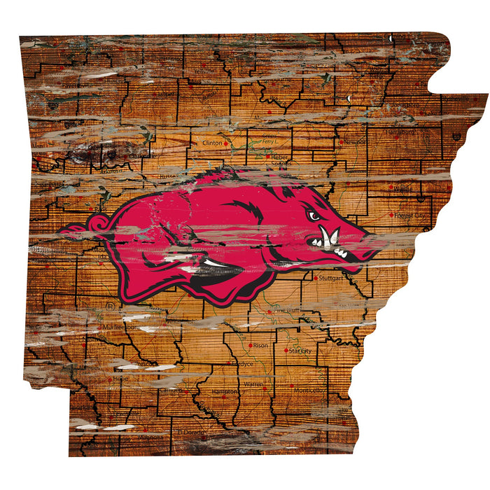 "Fan Cave Rugs:Arkansas Distressed State with Logo 24"" Wall Art"