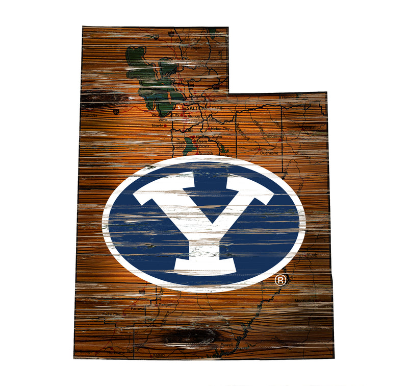 "Fan Cave Rugs:BYU Distressed State with Logo 24"" Wall Art"