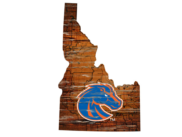 "Boise State Distressed State with Logo 24"" Wall Art - Fan Cave Rugs"