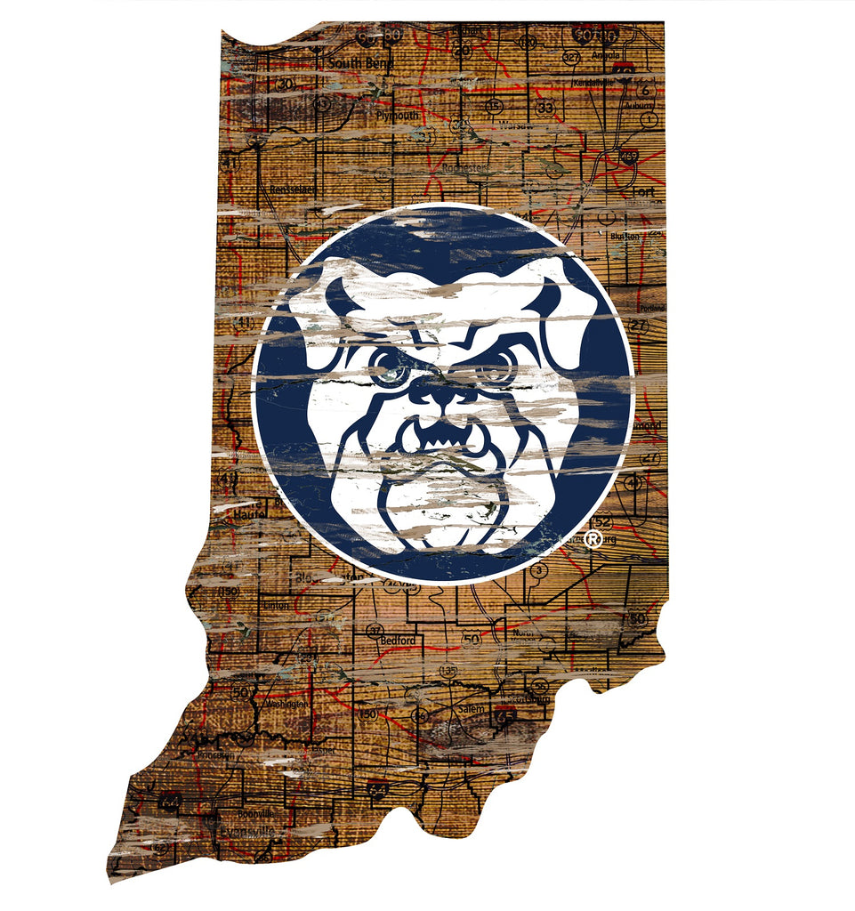 "Butler Distressed State with Logo 24"" Wall Art"