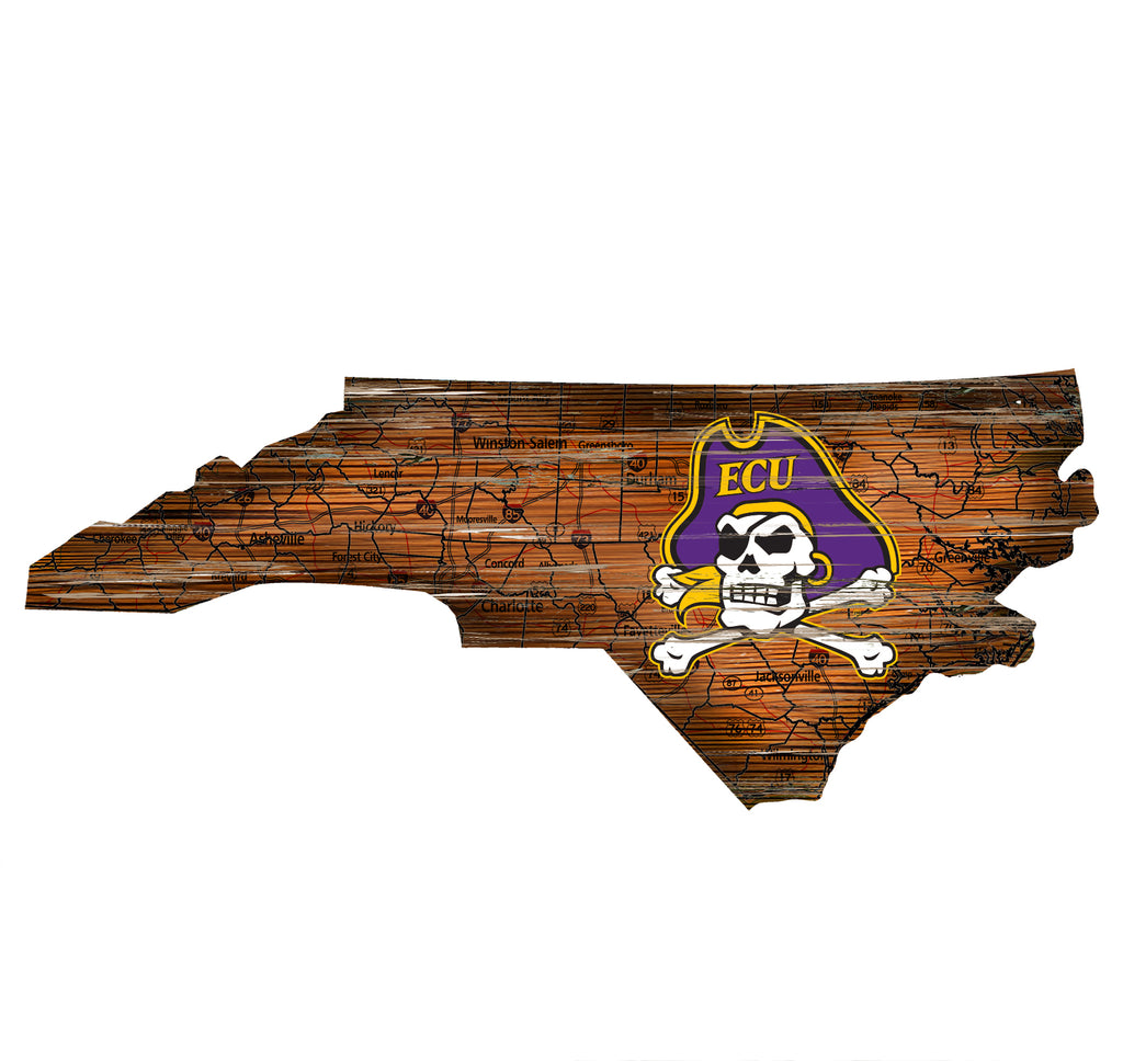 "East Carolina Distressed State with Logo 24"" Wall Art"