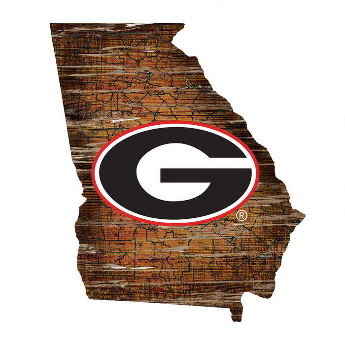"Georgia Distressed State with Logo 24"" Wall Art"