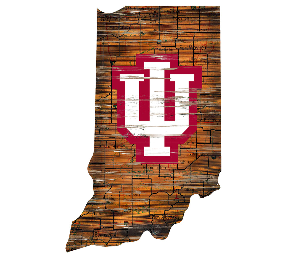 "Indiana Distressed State with Logo 24"" Wall Art"