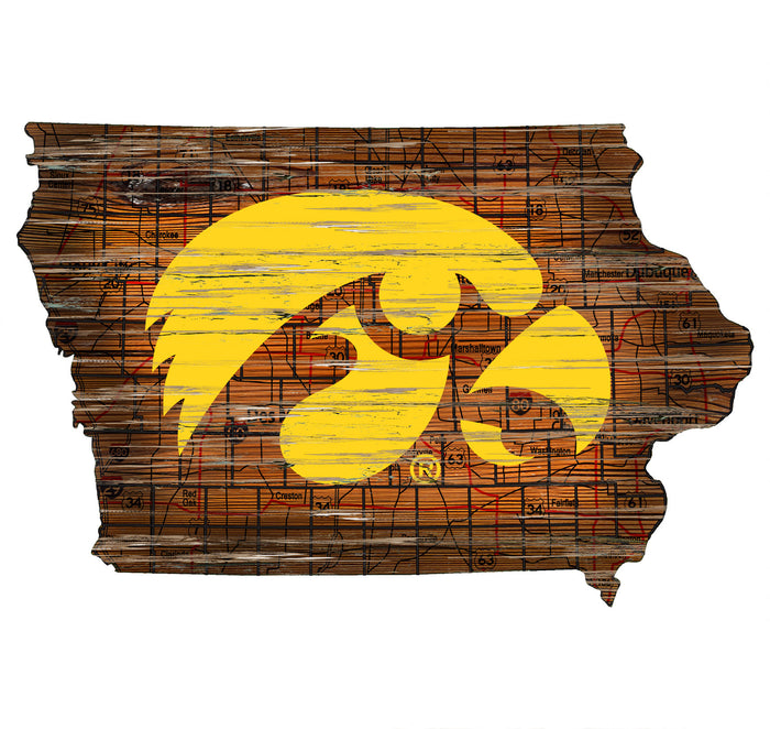 "Iowa Distressed State with Logo 24"" Wall Art"