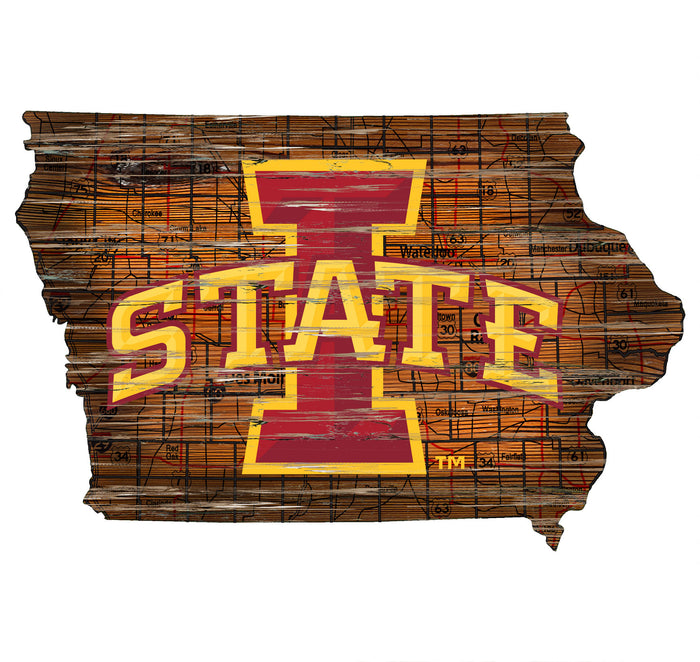 "Iowa State Distressed State with Logo 24"" Wall Art"