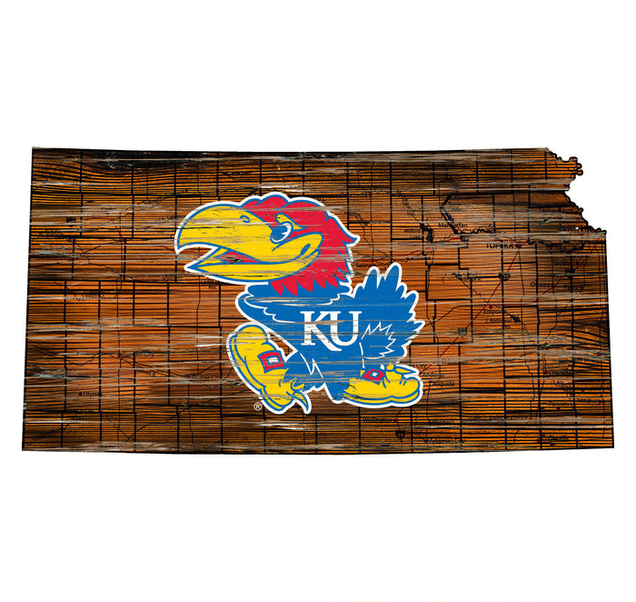 "Kansas Distressed State with Logo 24"" Wall Art"