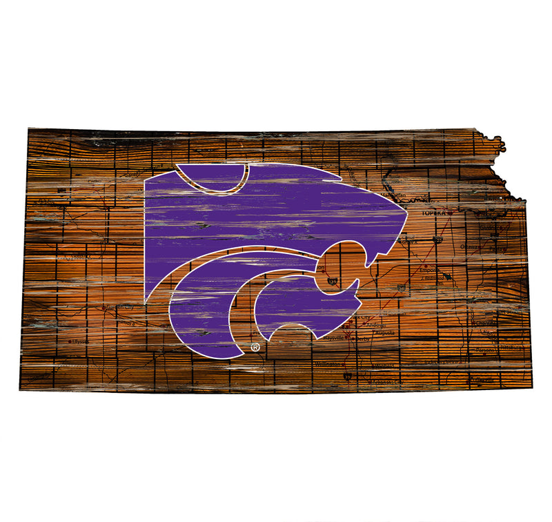 "Kansas State Distressed State with Logo 24"" Wall Art"