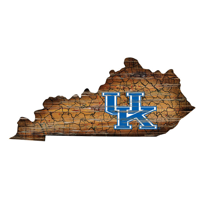 "Kentucky Distressed State with Logo 24"" Wall Art - Fan Cave Rugs"