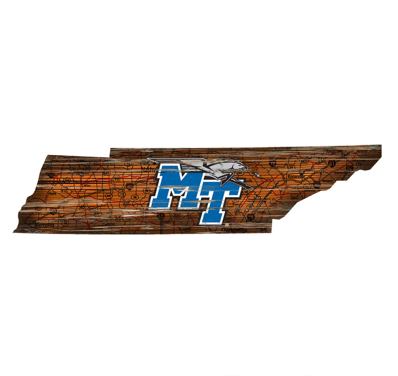"Middle Tennessee State Distressed State with Logo 24"" Wall Art - Fan Cave Rugs"
