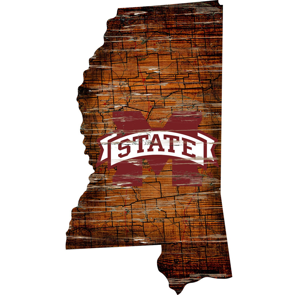 "Mississippi State State Distressed State with Logo 24"" Wall Art"