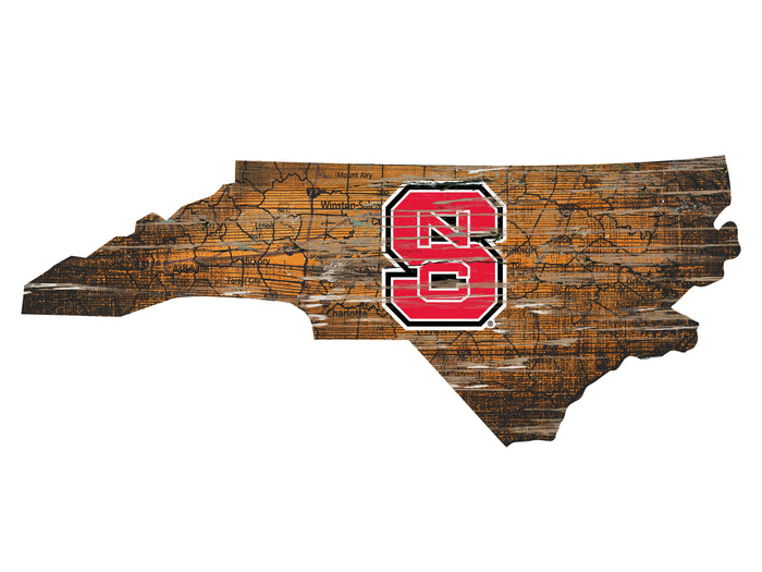 "NC State Distressed State with Logo 24"" Wall Art"