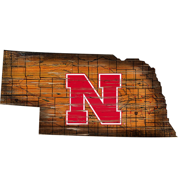 "Nebraska Distressed State with Logo 24"" Wall Art"