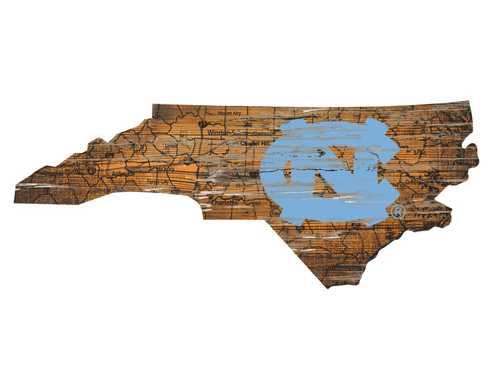 "North Carolina Distressed State with Logo 24"" Wall Art"